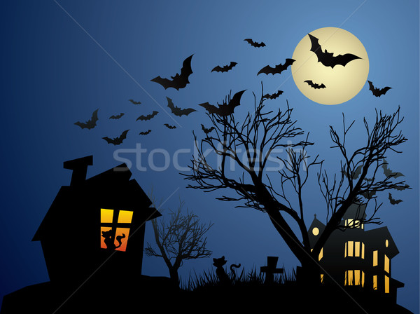 Halloween background with haunted house, bats and pumpkin Stock photo © graphit