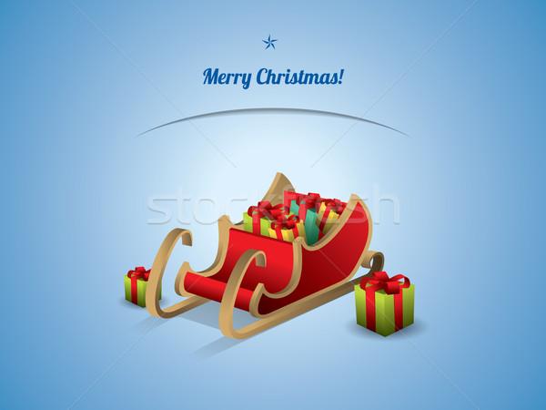 Mikulás szánkó ajándékok szeretet születésnap hó Stock fotó © graphit