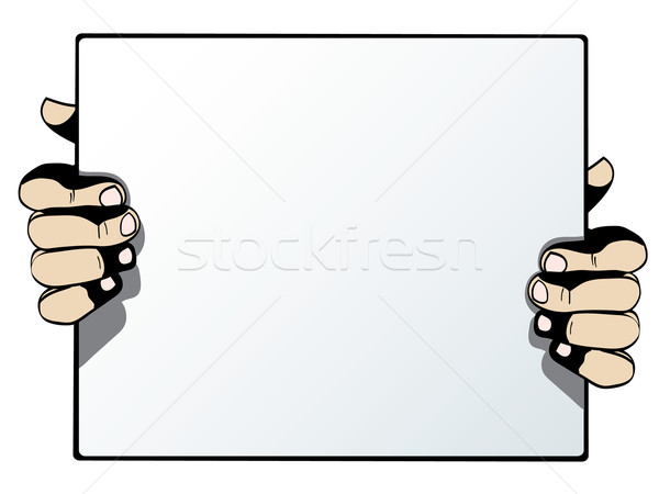 Human hands holding blank advertising card isolated on white bac Stock photo © graphit