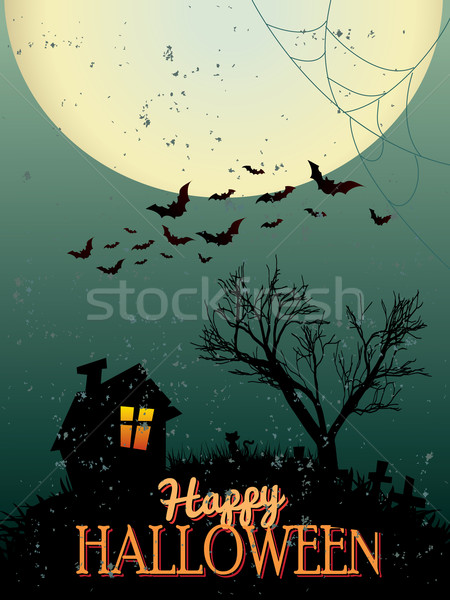Stockfoto: Halloween · posters · hand · gelukkig · abstract · kat
