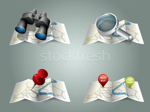 Stock fotó: Vektor · térkép · út · város · utca · városi