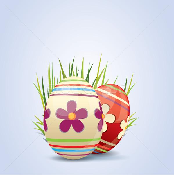 Colorido pintado ovos de páscoa páscoa flor feliz Foto stock © graphit
