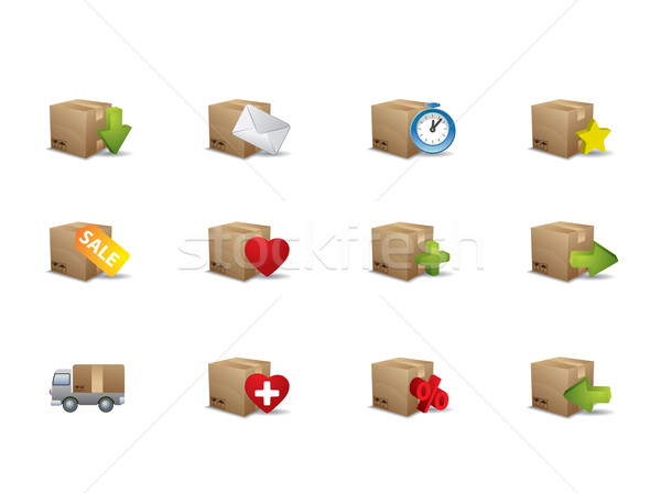 E-commerce box icons Stock photo © graphit