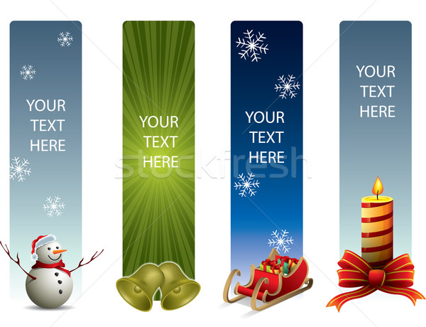 Christmas banners glimlach winter speelgoed retro Stockfoto © graphit