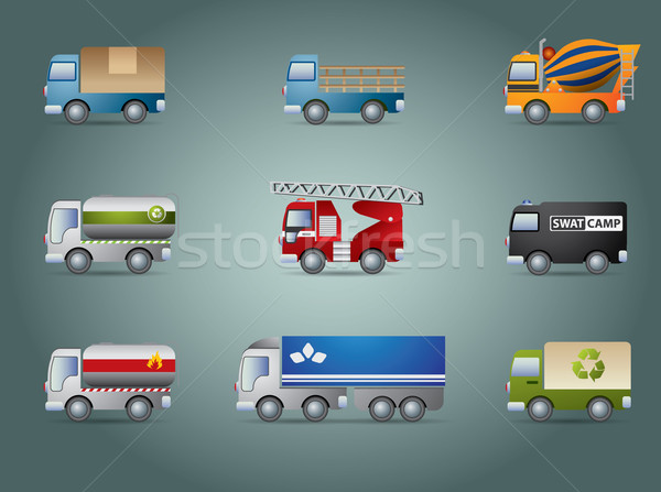 Truck icon set Stock photo © graphit