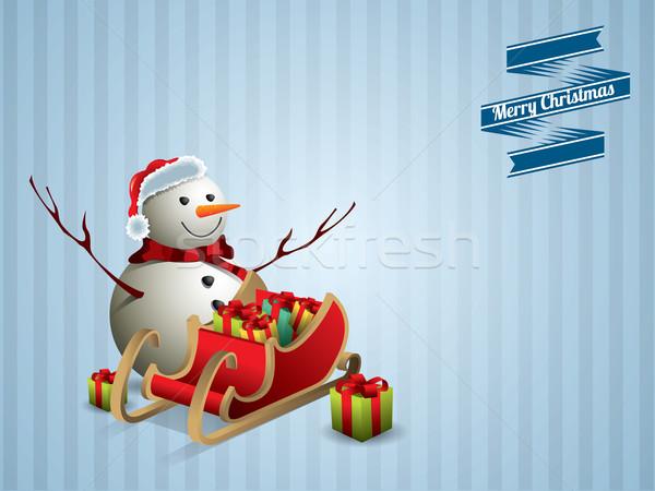 Snowman sanie pocztówkę szczęśliwy sztuki zielone Zdjęcia stock © graphit