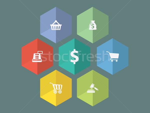 Projeto ecommerce ícones vetor formato Foto stock © graphit