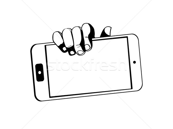 hands holding a tablet touch computer gadget - black-white Stock photo © graphit