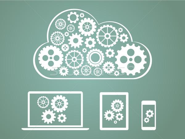 Dizayn bulut bilgisayar telefon Stok fotoğraf © graphit