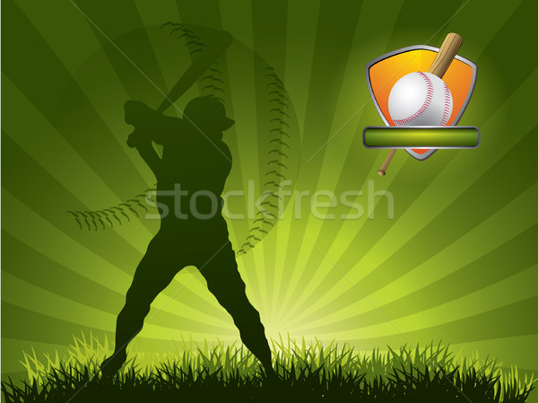 Baseball player strikes the ball with a stick Stock photo © graphit