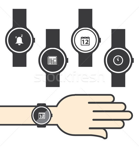 Circle Smartwatch with Icons Stock photo © graphit