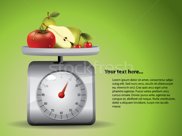 Kitchen Scale with fruits Stock photo © graphit