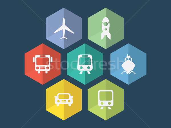 Flat design transport icons in editable vector format Stock photo © graphit