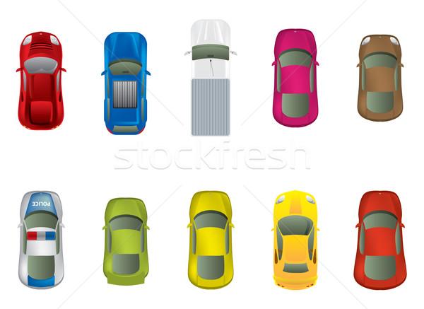 Haut vue voiture bleu voyage rouge illustration vectorielle janovici eniko - Voiture vue de haut ...