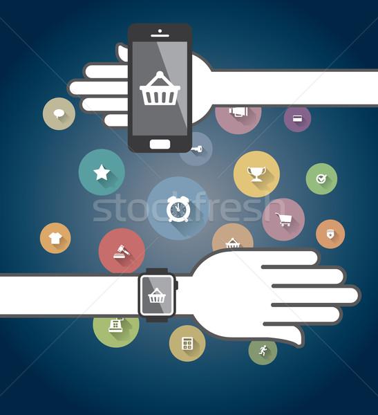 Colorido ecommerce ícones telefone internet Foto stock © graphit