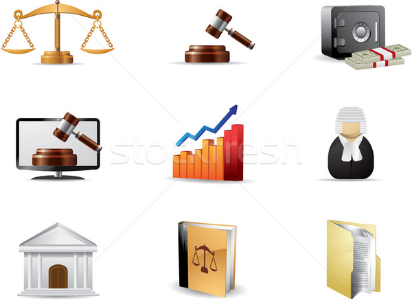 Stock photo: Law icon set