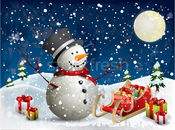 Snowman with gifts Stock photo © graphit
