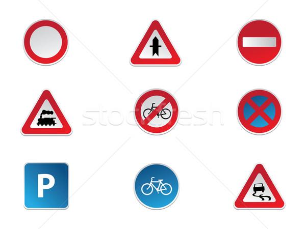 Jelzőtáblák autó ló utca teherautó felirat Stock fotó © graphit