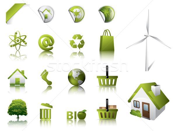 Eco dizayn elemanları simgeler ağaç ışık Stok fotoğraf © graphit