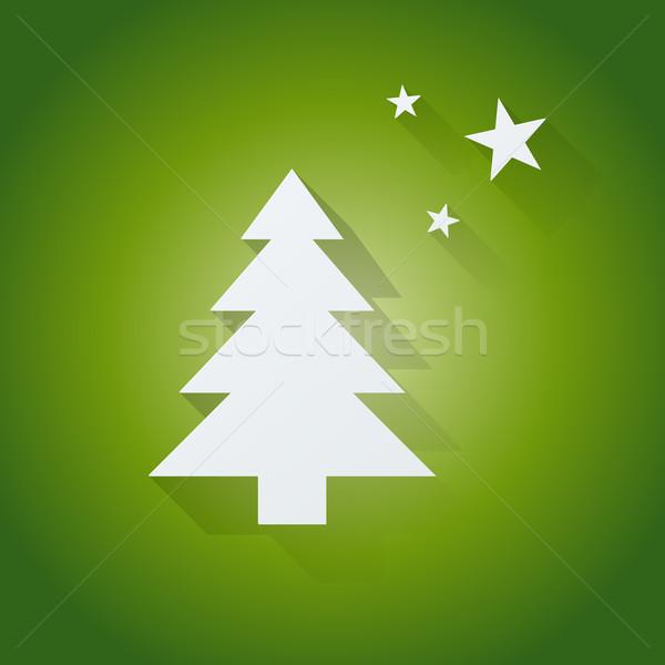 árbol de navidad verde vector arte rojo retro Foto stock © graphit