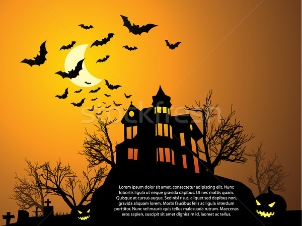 Halloween with haunted house, bats and pumpkin Stock photo © graphit