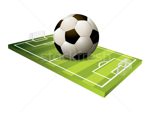 3d Soccer field vector Stock photo © graphit