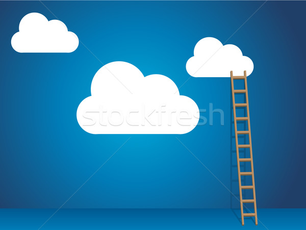 Cloud services with cloud and ladder Stock photo © graphit