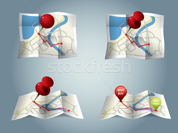 Stock photo: City map with GPS Icons and route