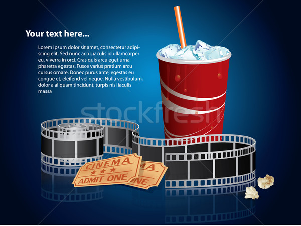 Soda, filmstrip and tickets Stock photo © graphit