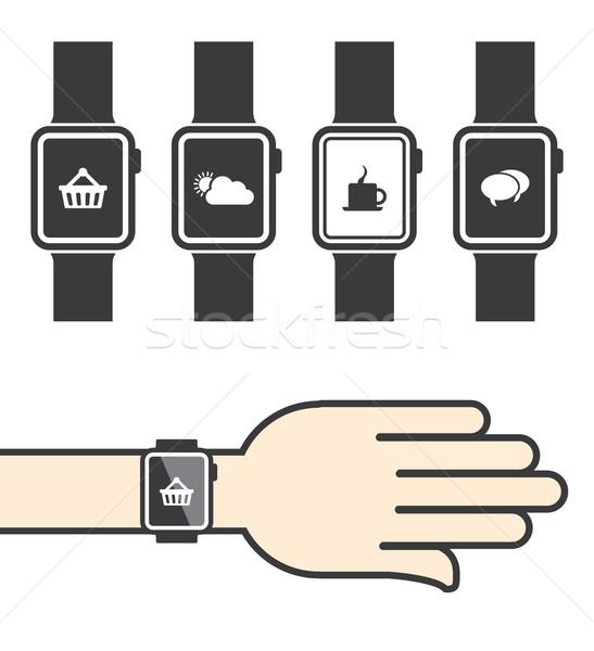 Icone telefono internet clock design tecnologia Foto d'archivio © graphit