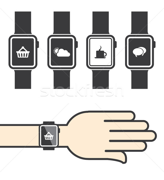 ícones telefone internet relógio projeto tecnologia Foto stock © graphit