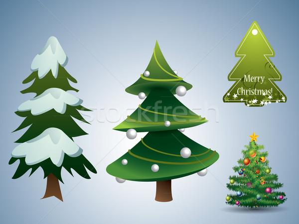 Foto stock: árvore · de · natal · conjunto · arte · espaço · inverno · dom