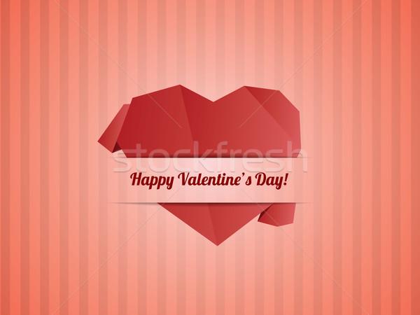 Papel corazón día de san valentín tarjeta vector Pareja Foto stock © graphit