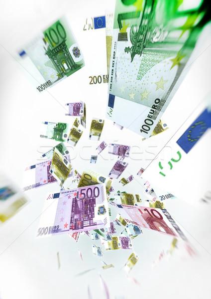 Euro számlák légy levegő pénz illusztráció Stock fotó © grasycho