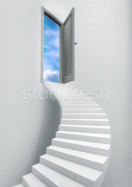Létra lépcsősor menny ajtó szabadság kék ég Stock fotó © grasycho