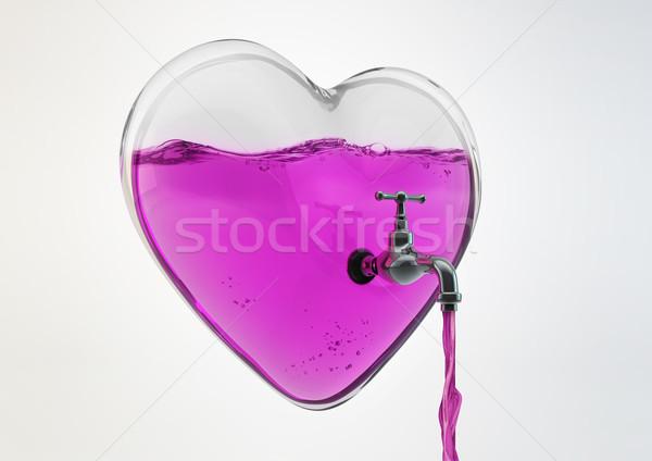 Befejezés szeretet 3d illusztráció üveg szív bent Stock fotó © grasycho