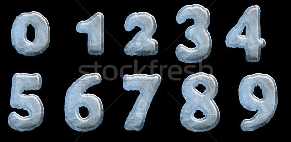 Szett jég számok izolált fekete textúra Stock fotó © grasycho