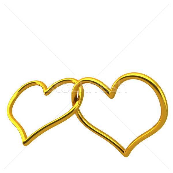 Szeretet szív alakú jegygyűrű együtt esküvő Stock fotó © grasycho