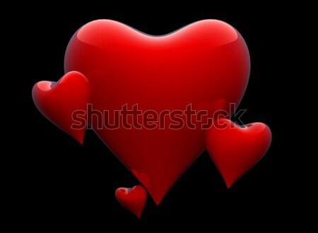четыре сердцах черный фон графических Сток-фото © gravityimaging