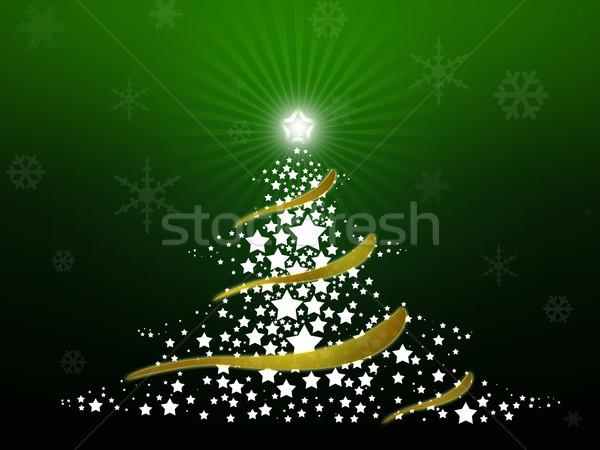 аннотация рождественская елка звезды зеленый счастливым Сток-фото © gravityimaging