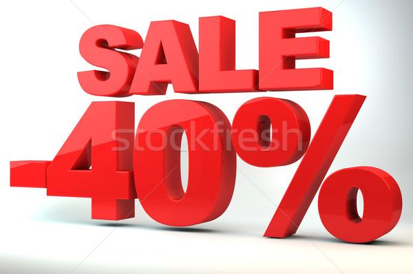 Satış fiyat azalma 40 alışveriş kırmızı Stok fotoğraf © gravityimaging