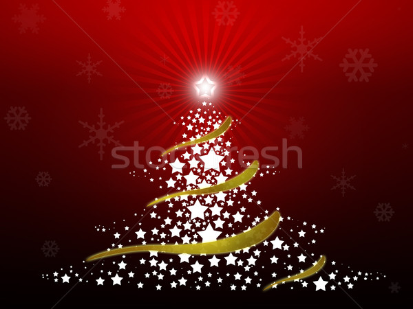 аннотация рождественская елка звезды красный счастливым Сток-фото © gravityimaging