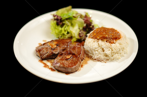 Steak meal with rice and salad  Stock photo © gravityimaging