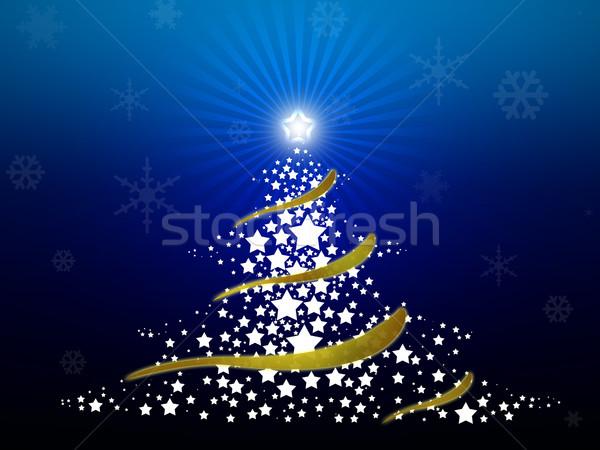 аннотация рождественская елка звезды синий счастливым Сток-фото © gravityimaging