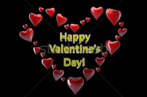 счастливым сердцах черный красный Сток-фото © gravityimaging