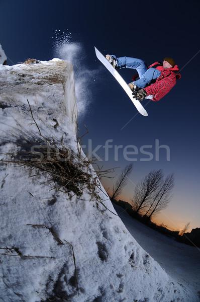 Сток-фото: городского · сноуборд · прыжки · высокий · весело