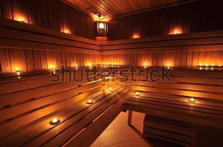 Foto stock: Sauna · interior · caliente · velas · spa · limpio