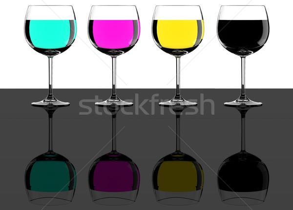 Бокалы таблице стекла пить черный Сток-фото © gravityimaging
