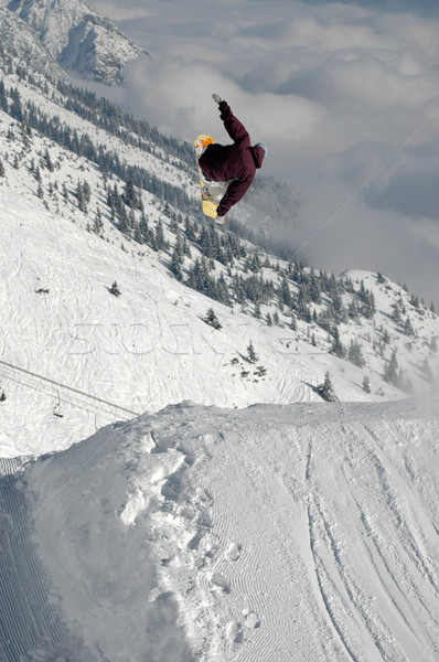 Sautant freestyle neige hiver montagnes Photo stock © gravityimaging