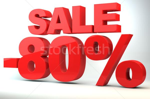 Satış fiyat azalma 80 alışveriş kırmızı Stok fotoğraf © gravityimaging